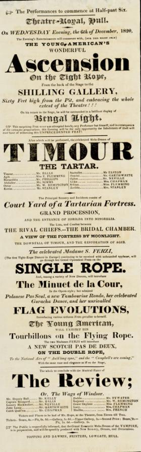 Playbill, Thetre-Royal, Hull. December 6, 1820.