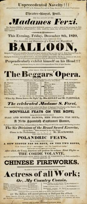 Playbill, Theatre-Royal, Hull. December 8, 1820.