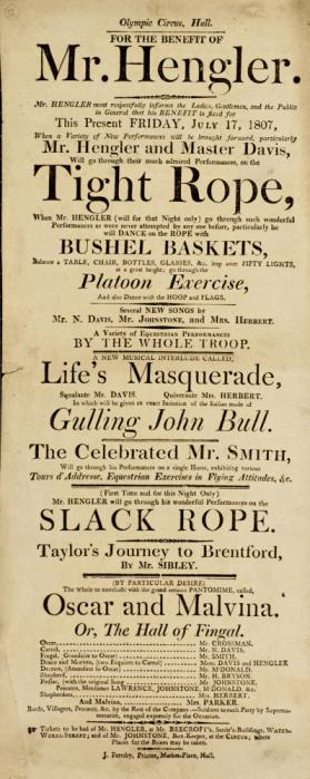 Playbill, Olympic Circus, Hull. July 17, 1807
