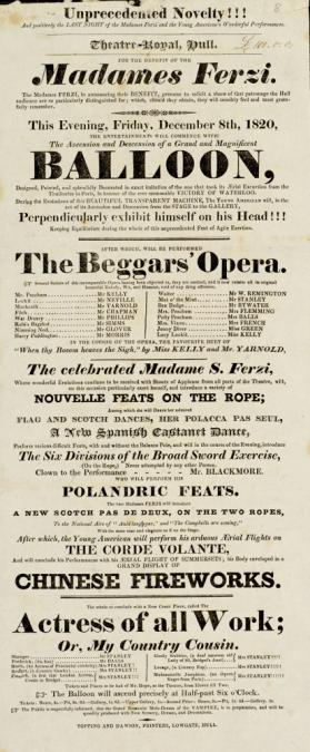 Playbill, Theatre-Royal, Hull. December 8, 1820