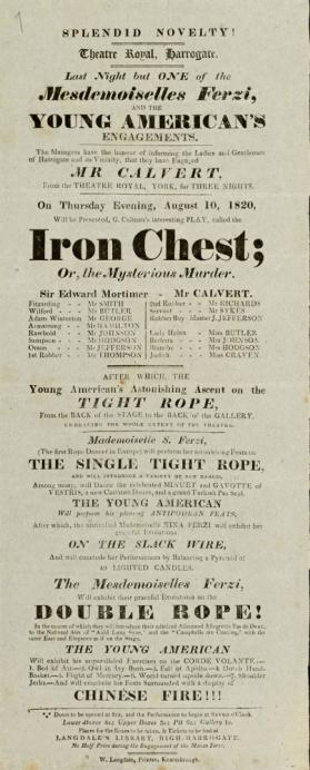 Playbill, Theatre Royal, Harrogate. August 10, 1820