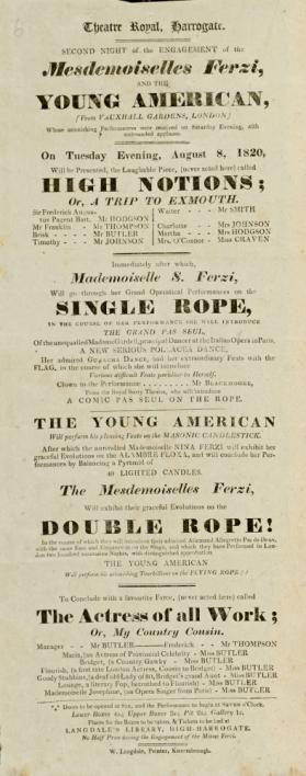 Playbill, Theatre Royal, Harrogate. August 8, 1820