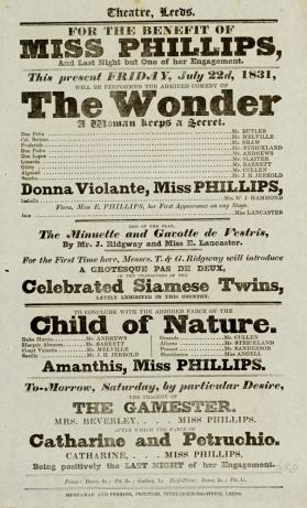 Playbill, Theatre, Leeds. July 22, 1831