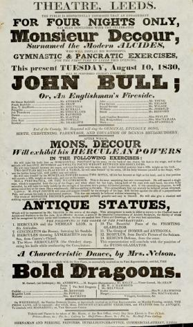 Playbill, Theatre, Leeds. August 10, 1830