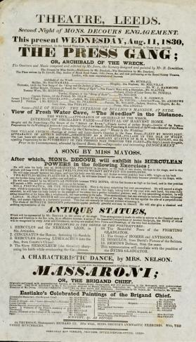 Playbill, Theatre, Leeds. August 11, 1830