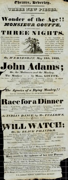 Playbill, Theatre, Beverley. May 13, 1829
