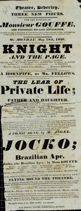Playbill, Theatre Beverley. May 18, 1829