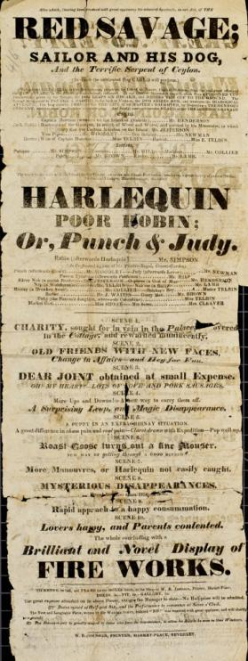 Playbill, Theatre, Beverly. March 21, 1828.