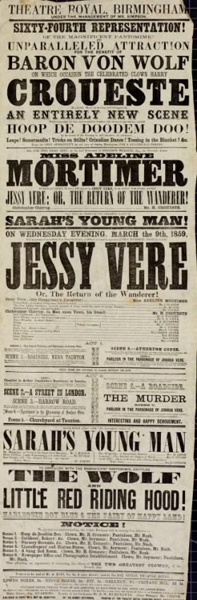 Playbill, Theatre Royal, Birmingham. March 9, 1859