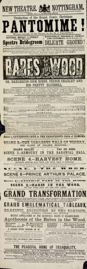 Playbill, New Theatre, Nottingham. December 26-January 2, 1860's.