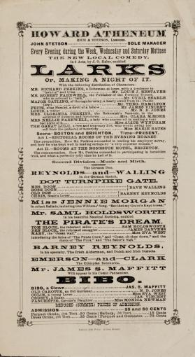 Handbill program for Howard Athenaeum, Boston, MA, USA