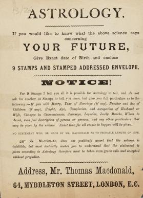 Advertisement for mail in Astrology readings by Mr. Thomas Macdonald, London
