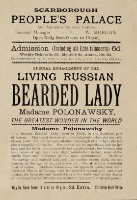 Handbill for Madame Polonawsky, beareded lady at Scarborough People's Palace