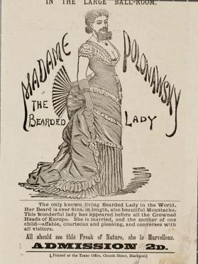 Handbill for Madame Polonawsky, the Bearded Lady, Blackpool