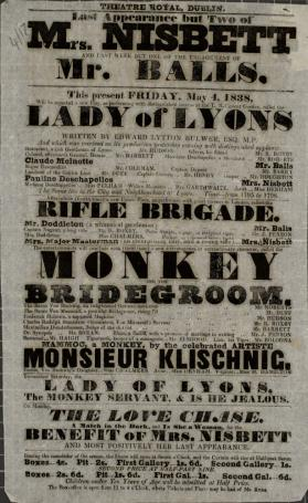 Handbill for Theatre Royal, Dublin. May 4, 1838