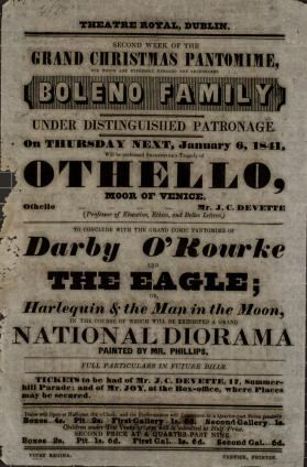 Handbill for Theatre Royal, Dublin. January 6, 1841