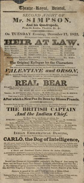 Handbill for Theatre Royal, Bristol. December 17, 1822