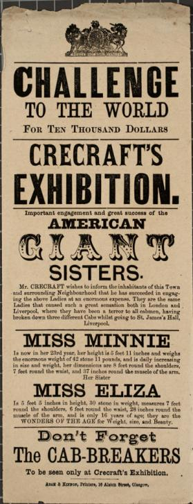 Handbill for Crecraft's Exhibition, Glasgow, c. 1873