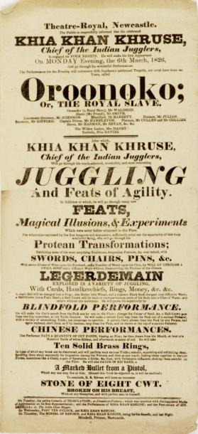 Handbill for Theatre Royal, Newcastle. March 6, 1826