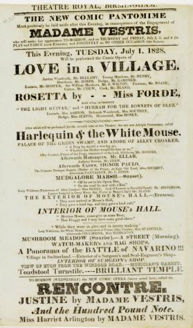 Handbill for Theatre Royal, Birmingham. July 1, 1828