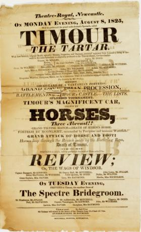 Handbill for Theatre-Royal Newcastle, August 8, 1825