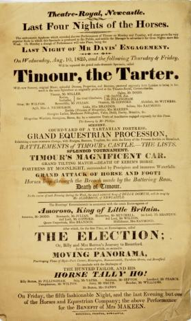 Handbill for Theatre-Royal Newcastle, August 10, 1825