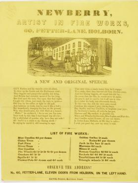 Handbill for Newberry, An Artist in Fireworks at 60 Fetter-lane, Holborn
