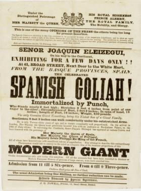 Handbill advertising the exhibition of The Spanish Goliah
