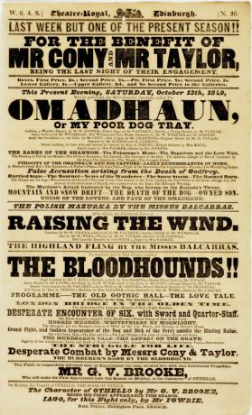 Handbill for Theatre-Royal Edinburgh, October 13, 1849