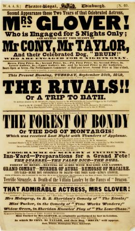 Handbill for Theatre-Royal Edinburgh, September 25, 1849