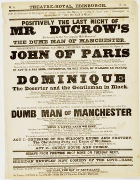 Handbill for Theatre-Royal, Edinburgh. December 16, 1837