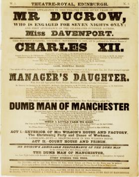 Handbill for Theatre-Royal, Edinburgh. November 16, 1837