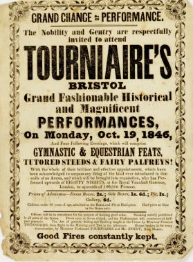 Handbill for Tourniaire's, Bristol. October 19, 1846