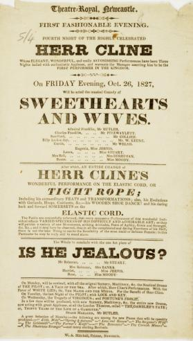 Handbill for Theatre-Royal Newcastle, October 26, 1827
