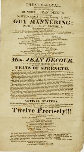 Handbill for Theatre-Royal Newcastle, January 17, 1827
