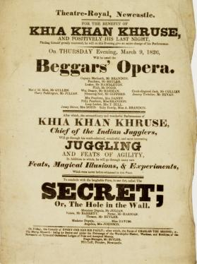 Handbill for Theatre-Royal Newcastle, March 9, 1826