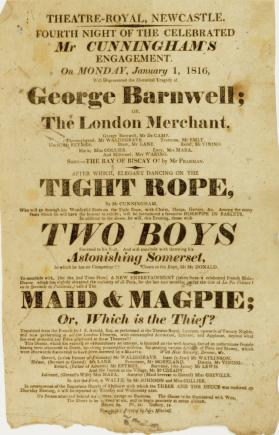 Handbill for Theatre-Royal, Newcastle, January 1, 1816