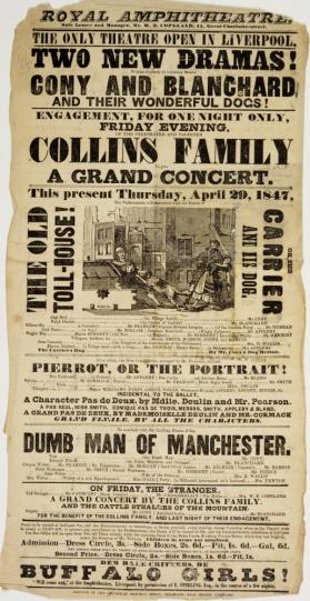 Playbill for Royal Amphitheatre, Liverpool. April 29, 1847.