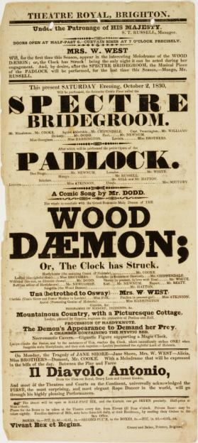 Playbill for Theatre Royal, Brighton. October 2, 1830