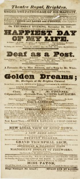 Playbill for Theatre Royal, Brighton. November 18, 1830