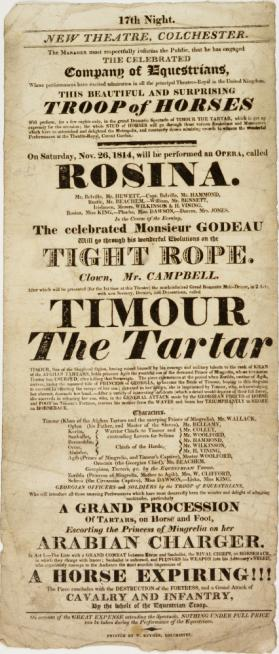 Playbill for New Theatre, Colchester, November 26, 1814
