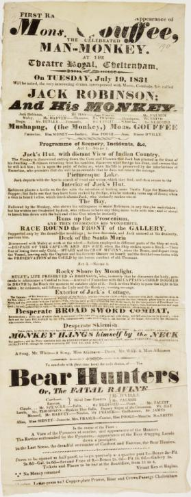 Playbill for Theatre Royal, Cheltenham. July 19, 1831