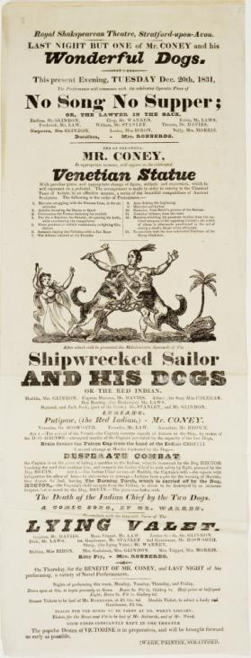 Playbill for the Royal Shakespearean Theatre, Stratford Upon Avon. December 20, 1831