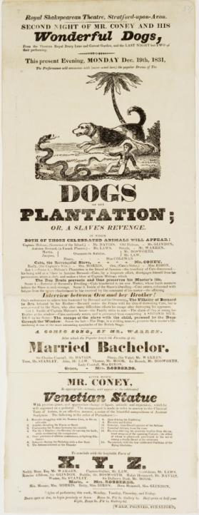 Playbill for the Royal Shakespearean Theatre, Stratford Upon Avon. December 19, 1831