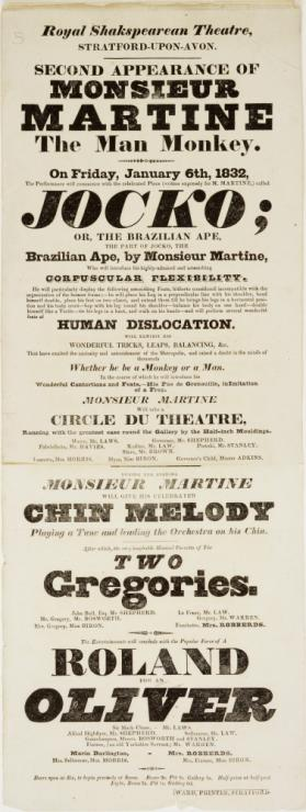 Playbill for Royal Shakespearean Theatre, Stratford-upon-Avon. January 6, 1832