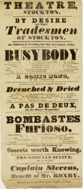 Handbill for the Theatre, Stockton. November 9, 1835