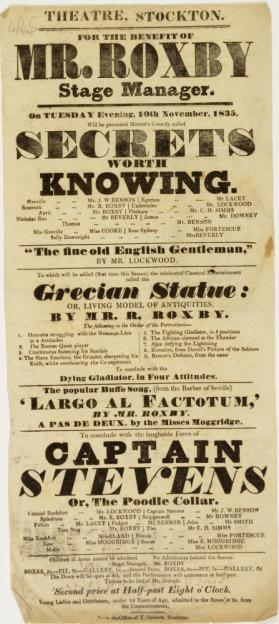 Handbill for Theatre, Stockton. November 10, 1835