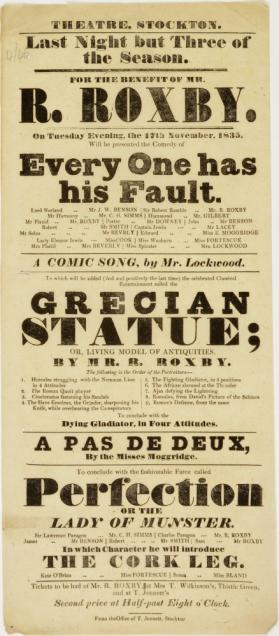 Handbill for Theatre, Stockton. November 17, 1835
