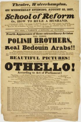 Handbill for Theatre, Wolverhampton, August 23, 1837