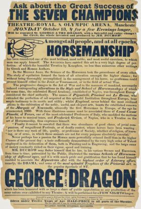 Handbill for Theatre Royal and Olympic Arena, Manchester. October 13, no year